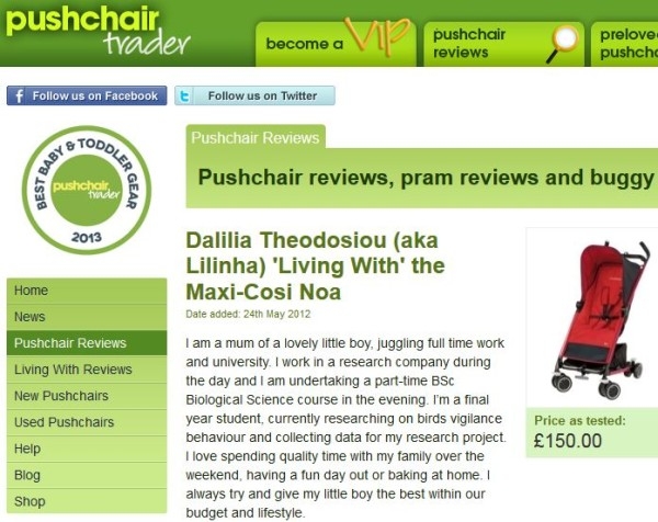 Pushchair Trader Review - Living With Maxi Cosi Noa