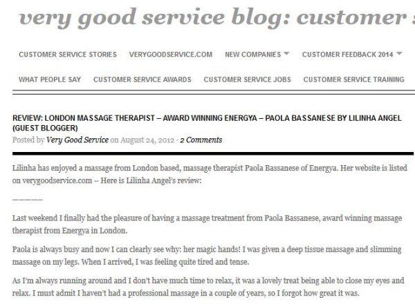 Very Good Service Blog Review