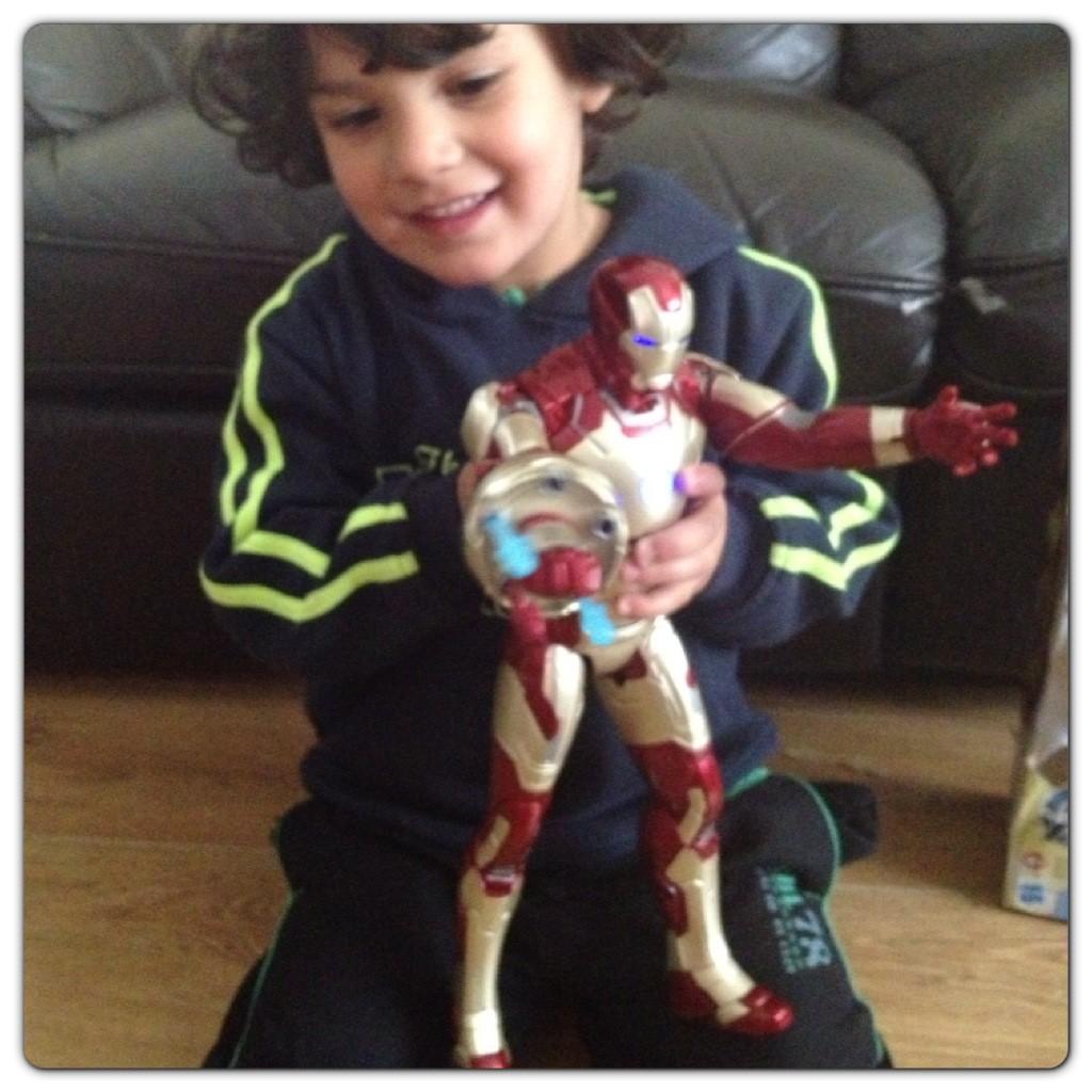 Little Man Having Fun with Iron Man 3 Sonic Blasting