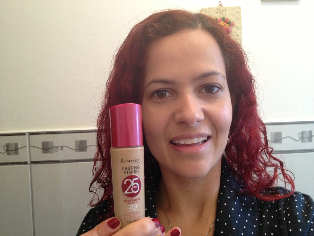 Step 1: Apply a thin layer of Rimmel Lasting Finish foundation, evenly on your face.