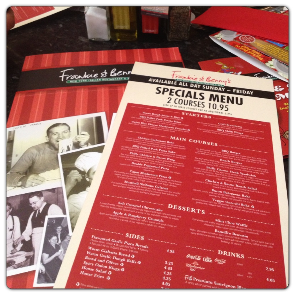 Frankie & Benny's New Specials Menu