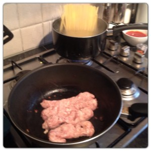 Cooking the Sausage and Pasta