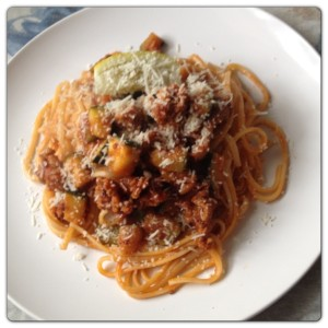 Tuscan Pork Linguine with Courgettes, Chilli and Lemon