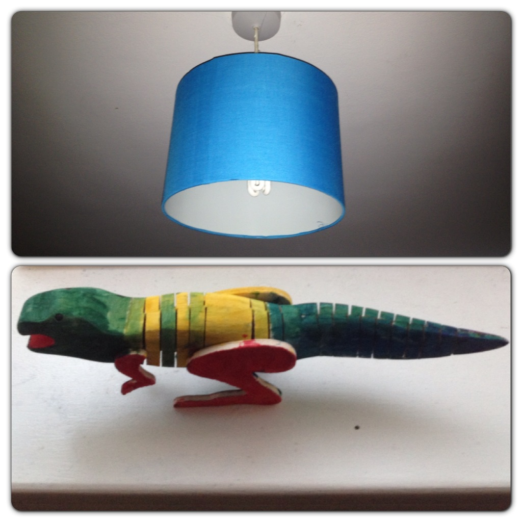 After: Light Shade and Painted Dinosaur