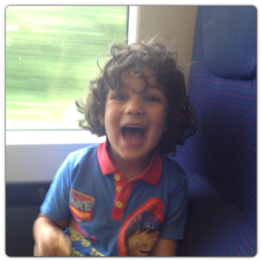 Little Man Excited on the Train