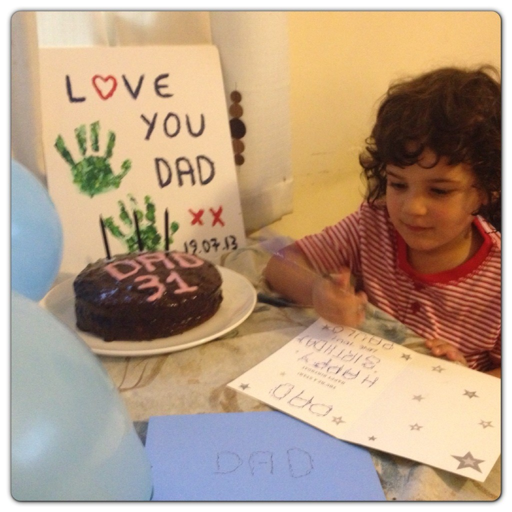 Writing Daddy's Birthday Card