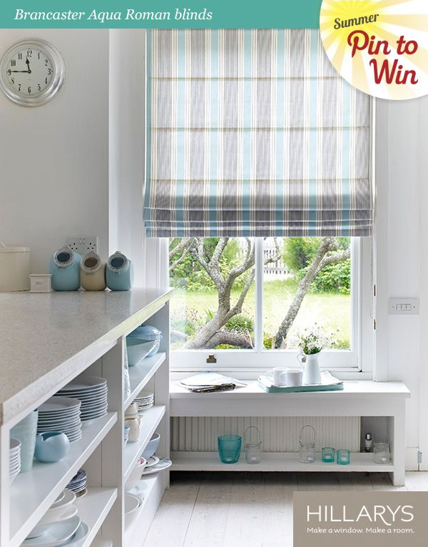 Brancaster Aqua Roman Blinds by Hillarys