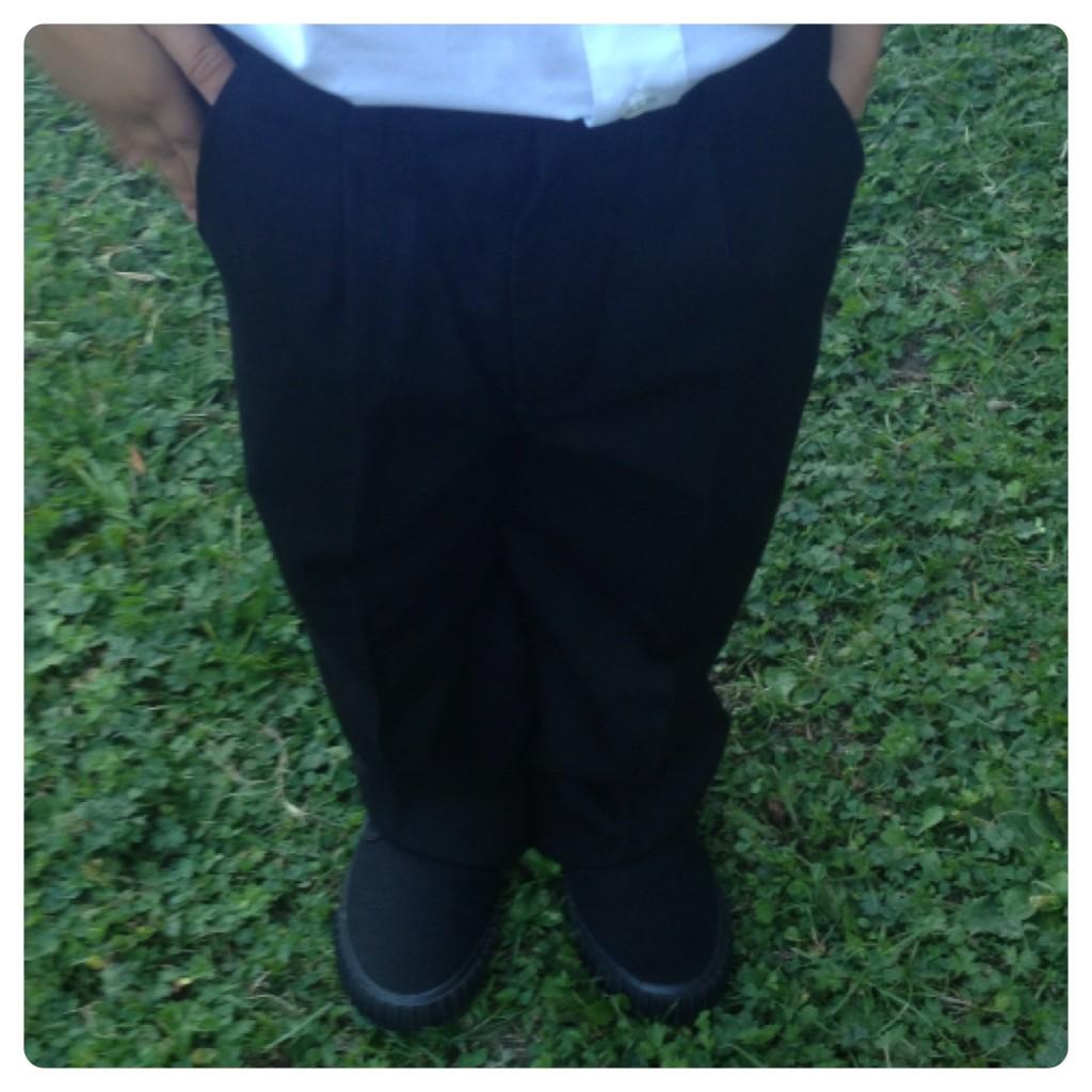 Nutmeg Black Trousers and Plimsolls