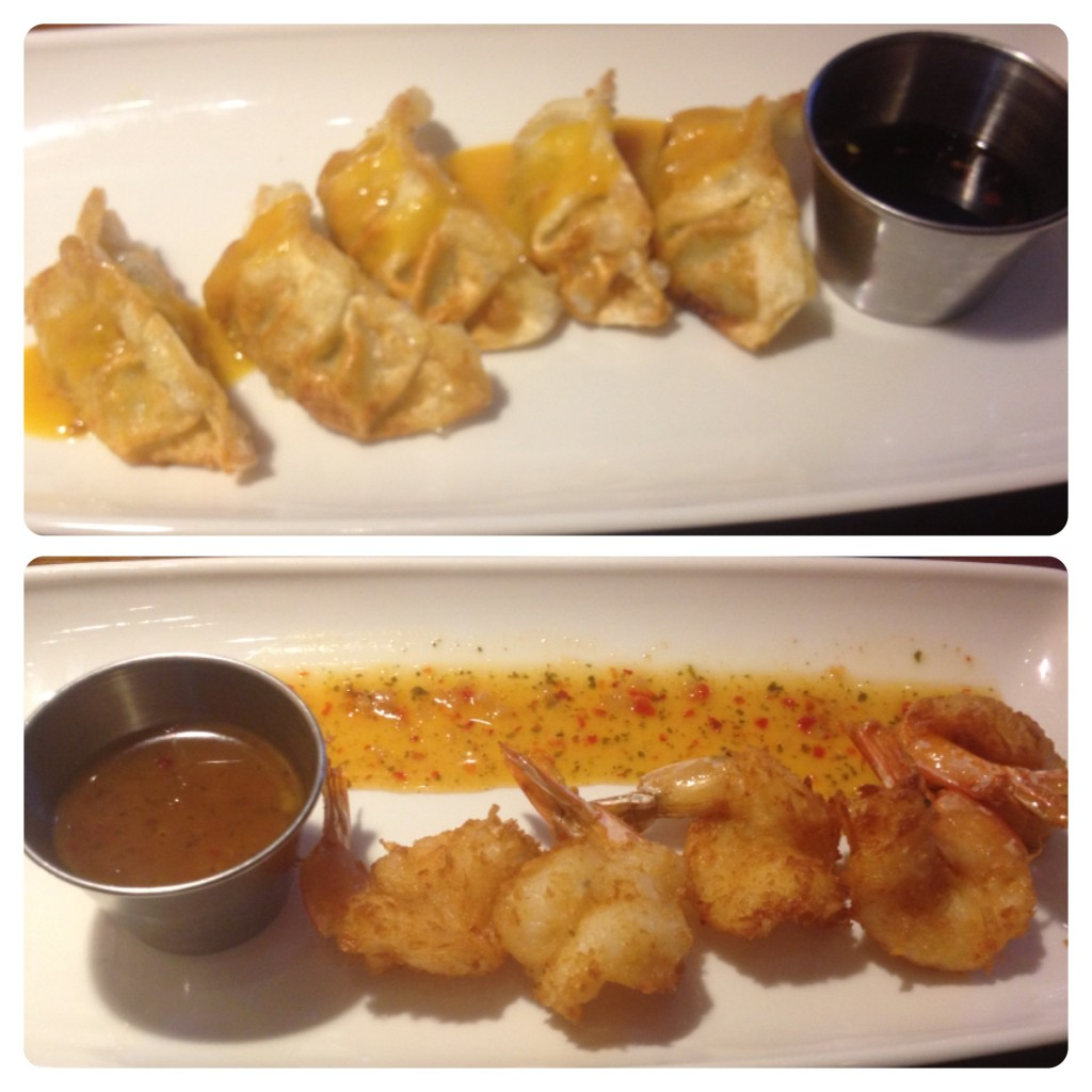 Chicken Potstickers and Crunchy Coconut Shrimp