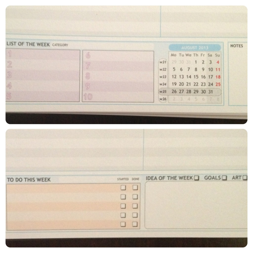 Bottom Page of Personal Planner