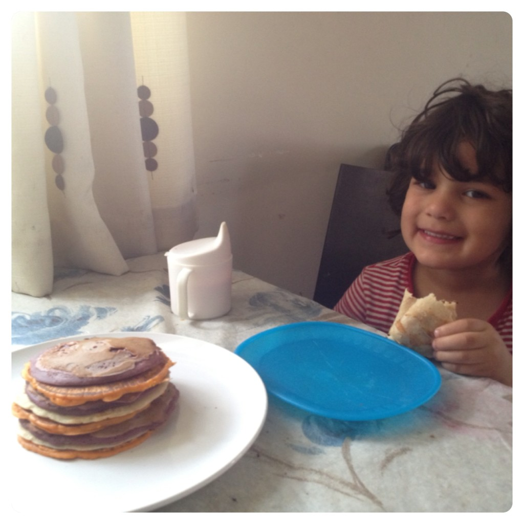 Enjoying a Pancake Rainbow Breakfast