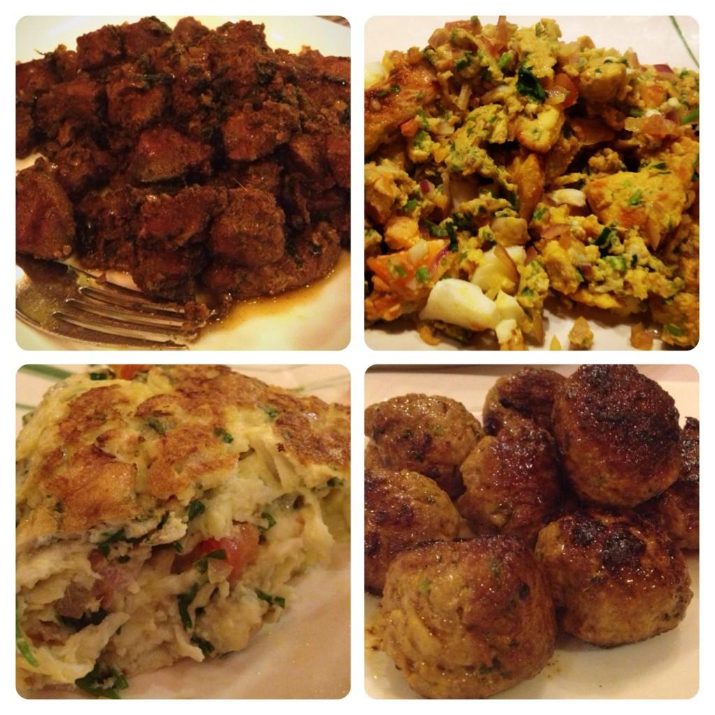 Turkey Liver, Shredded Turkey, Turkey Omelette and Turkey Meatballs