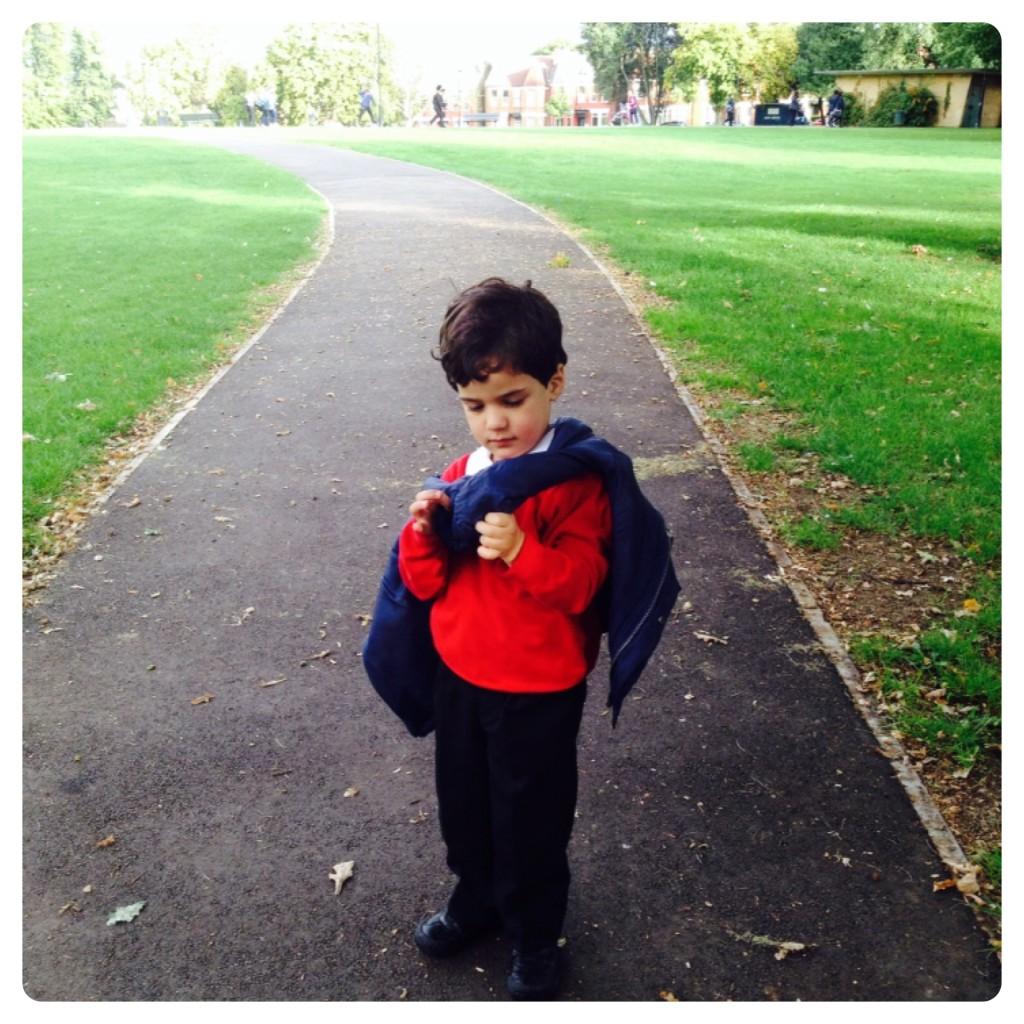 Little Man on Way to School