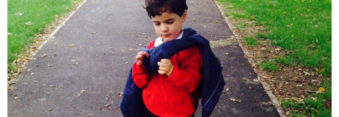 Little Man on Way to School