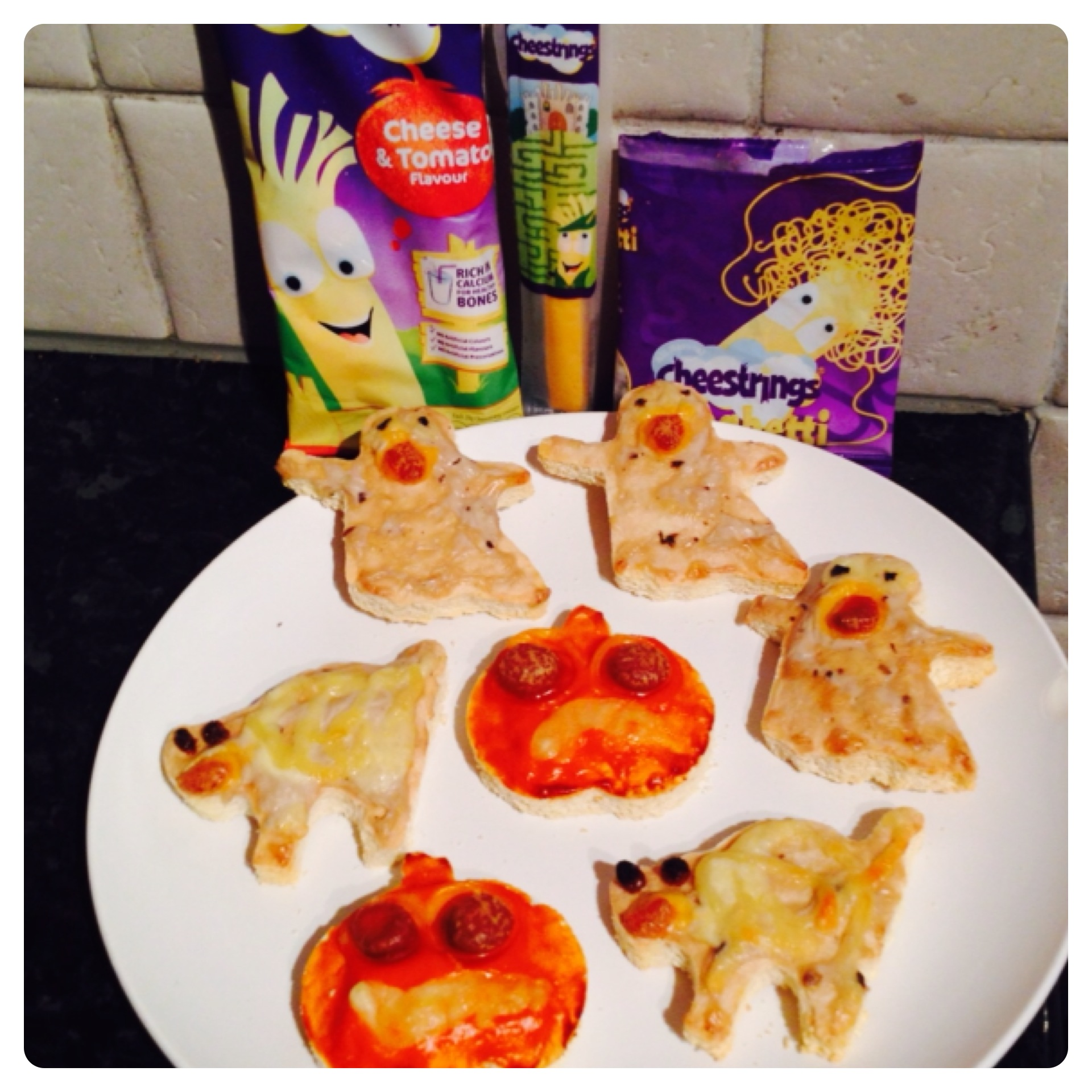 Halloween Pizzas with Cheestrings