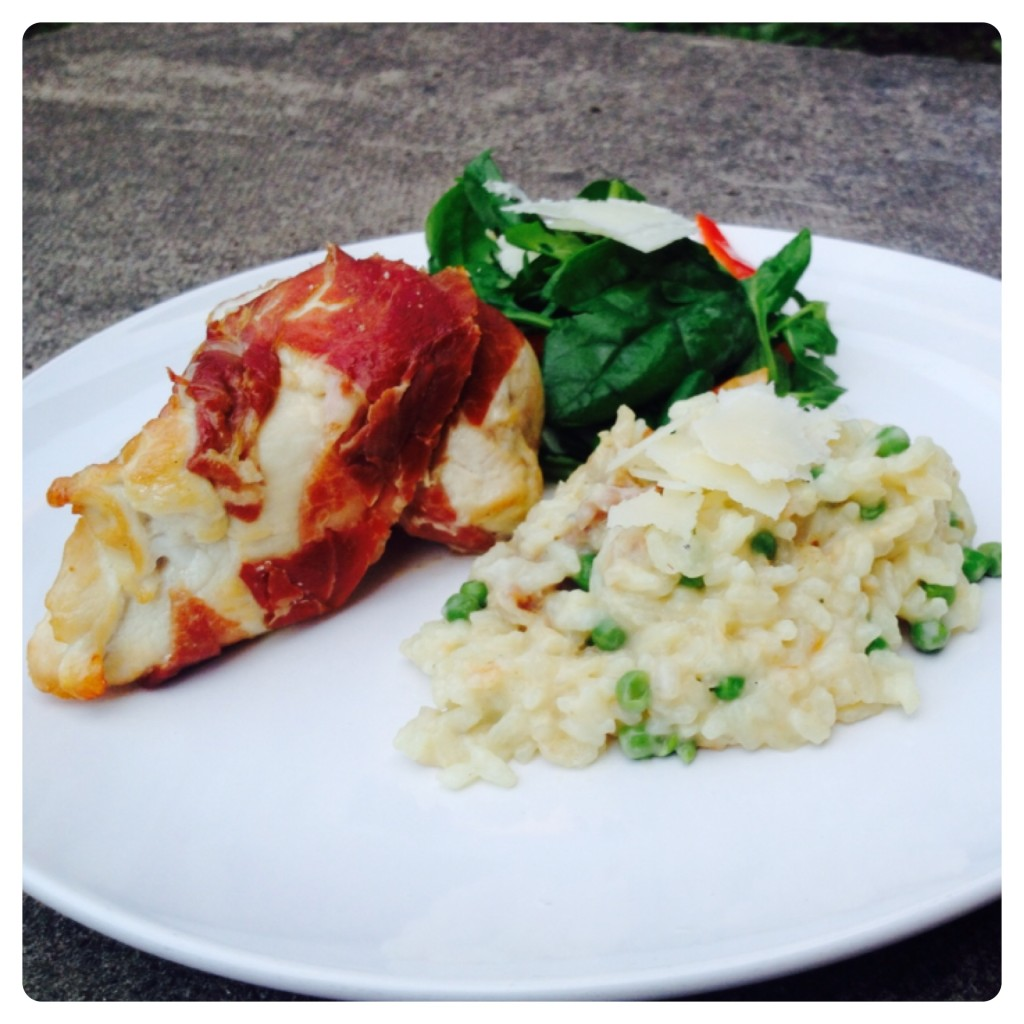 Stuffed Chicken Wrapped in Proscuitto with Pea Risotto and Grana Padano Salad
