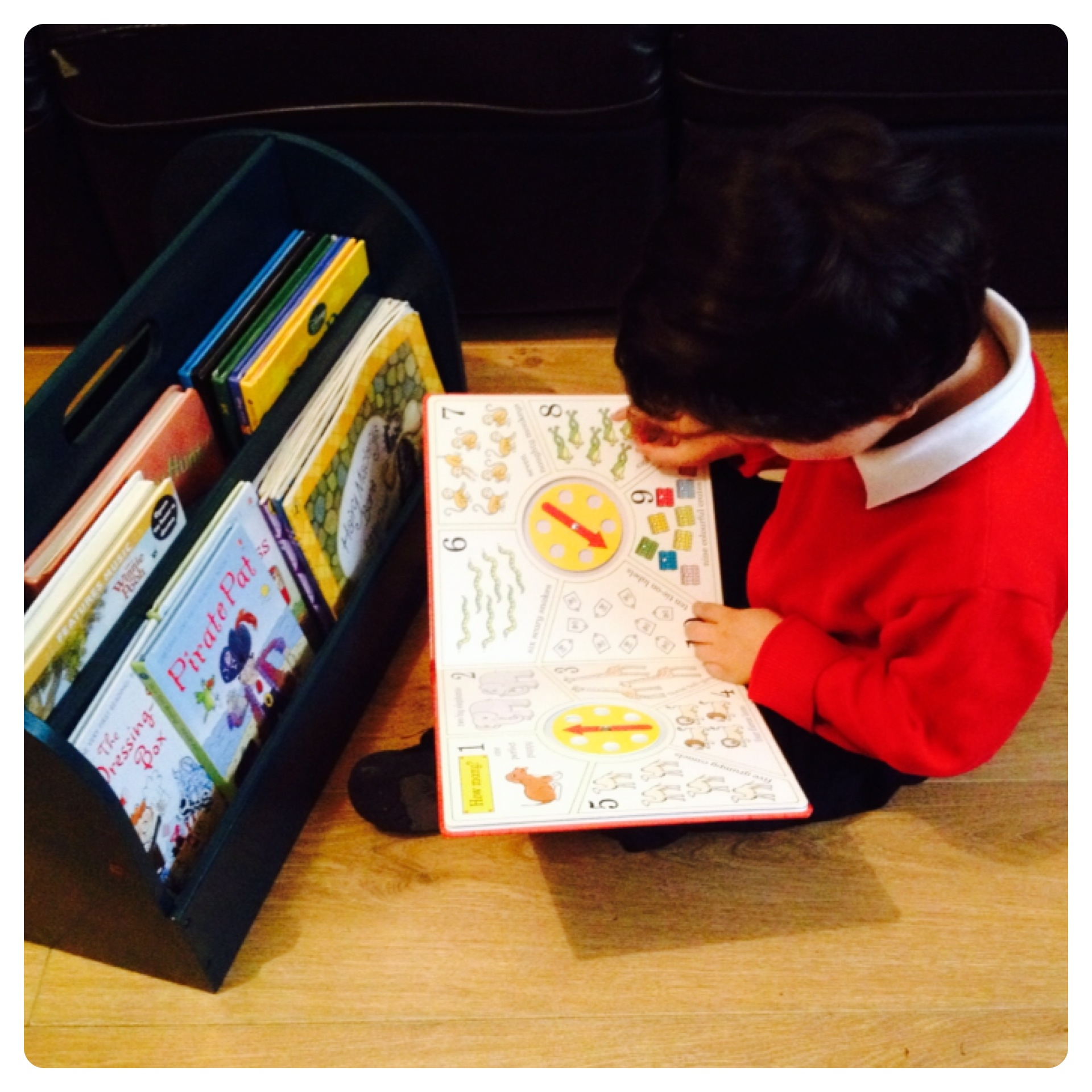 Little Man Enjoying His Tidy Books Box