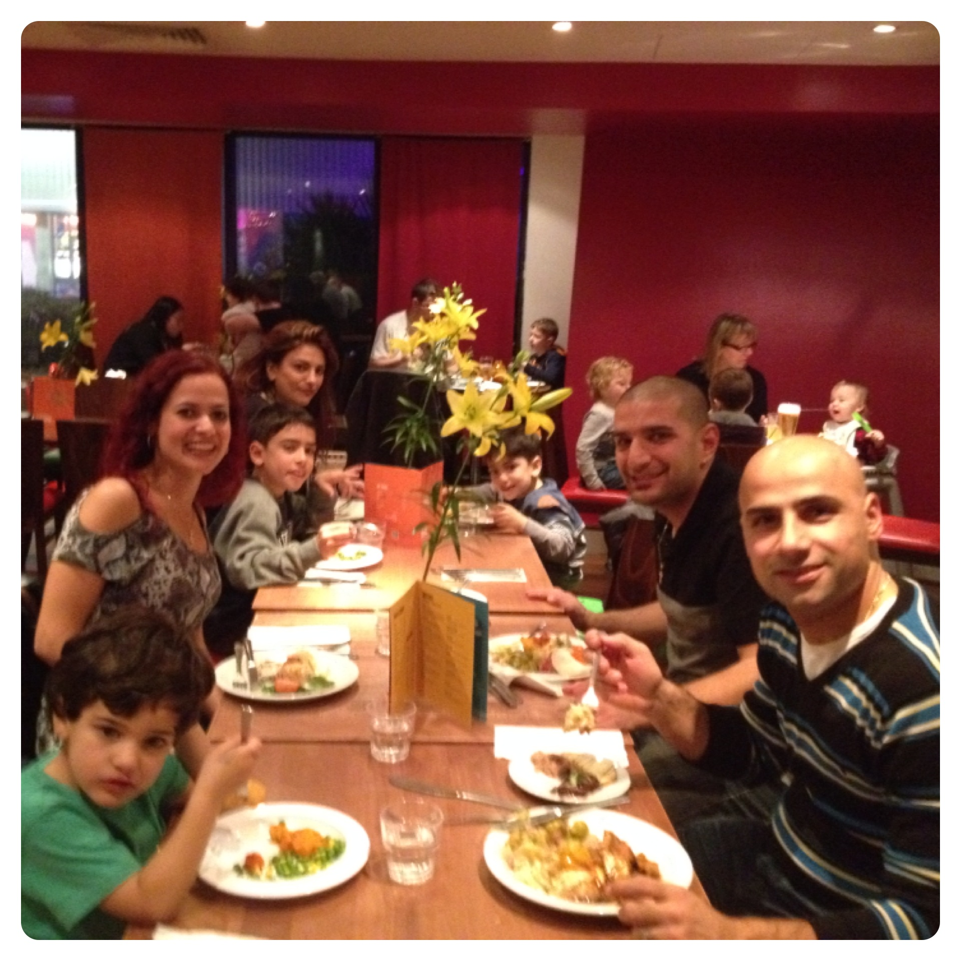 Family Meal at South Coast Restaurant