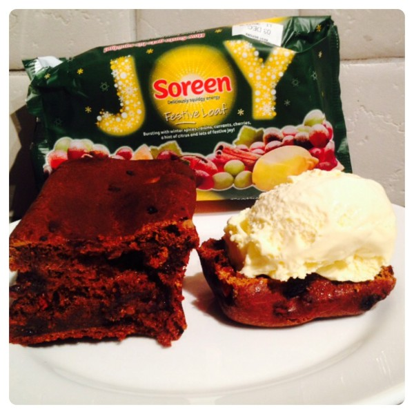 Warm Soreen Festive Loaf with Ice Cream