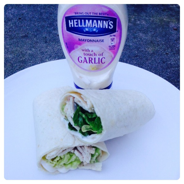 Turkey Salad Wrap with Garlic Hellmann's Mayonnaise
