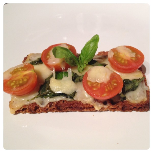 Grilled Cheese, Cherry Tomatoes and Basil on Ryvita Multigrain Crispbread