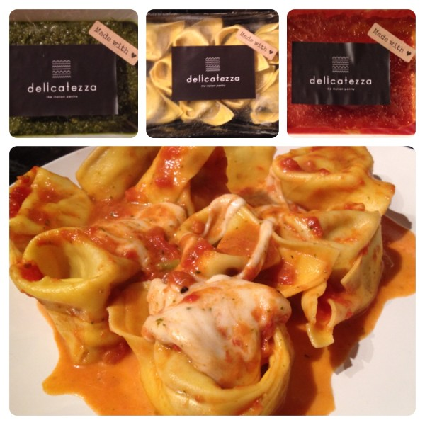 Braised Beef Tortelloni with Pomodoro and Pesto Genovese, with Taralluci Cheese