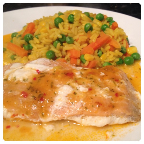 Wild Pink Salmon with Fragrant Golden Vegetable Rice