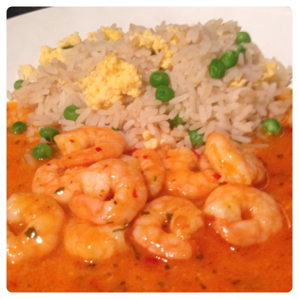 King Prawns in Sweet Chilli Sauce with Egg Fried Rice