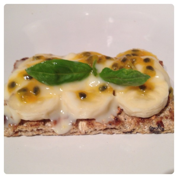 Ryvita Fruit Crunch with Sliced Banana, Cool Yoghurt, Basil, Passion Fruit and Honey