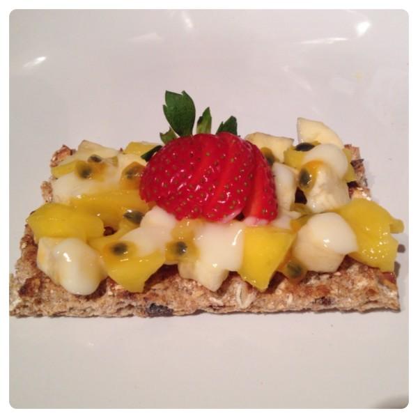 Banana, Mango, Passion Fruit and Strawberry with Yogurt on Ryvita Fruit Crunch