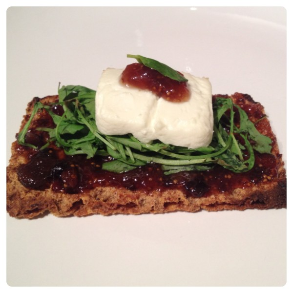 Grilled Goat Cheese with Rocket and Fig Chutney on Sesame Ryvita Crispbread