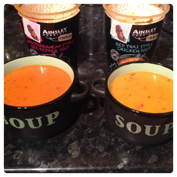 Ainsley Harriot Mediterranean Style Red Pepper Soup and Red Thai Style Chicken Soup