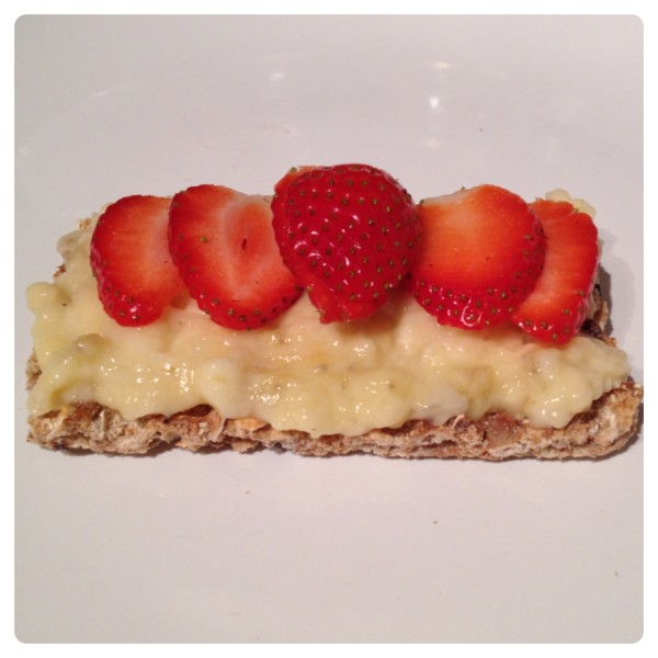 Ryvita Fruit Crunch with Mashed Banana and Sliced Strawberry