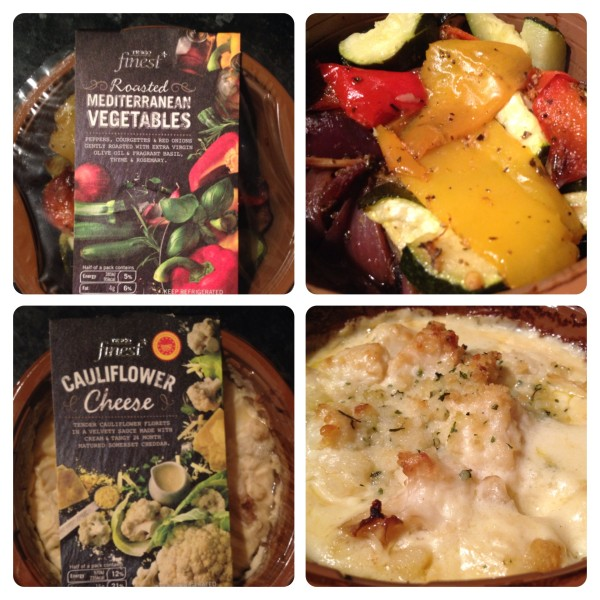 Tesco finest* sides: Roasted Mediterranean Vegetables and Cauliflower Cheese