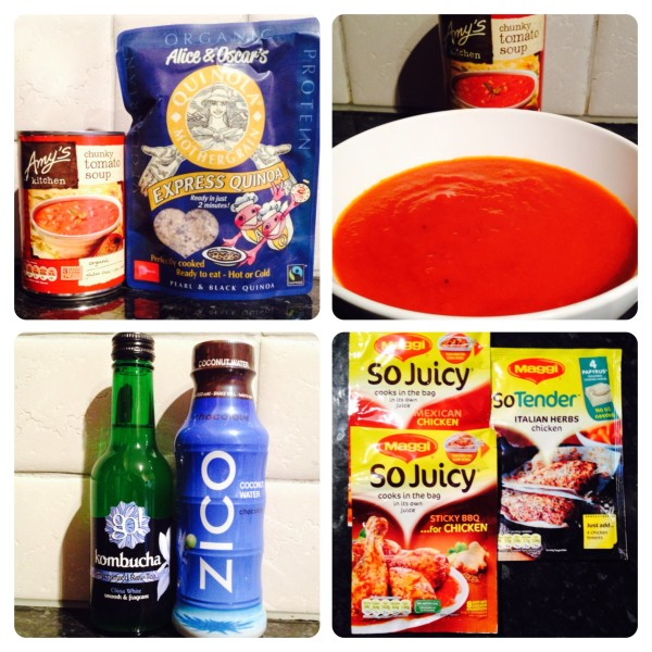 Tomato Soup, Quinoa, Tea, Coconut Water and Maggi