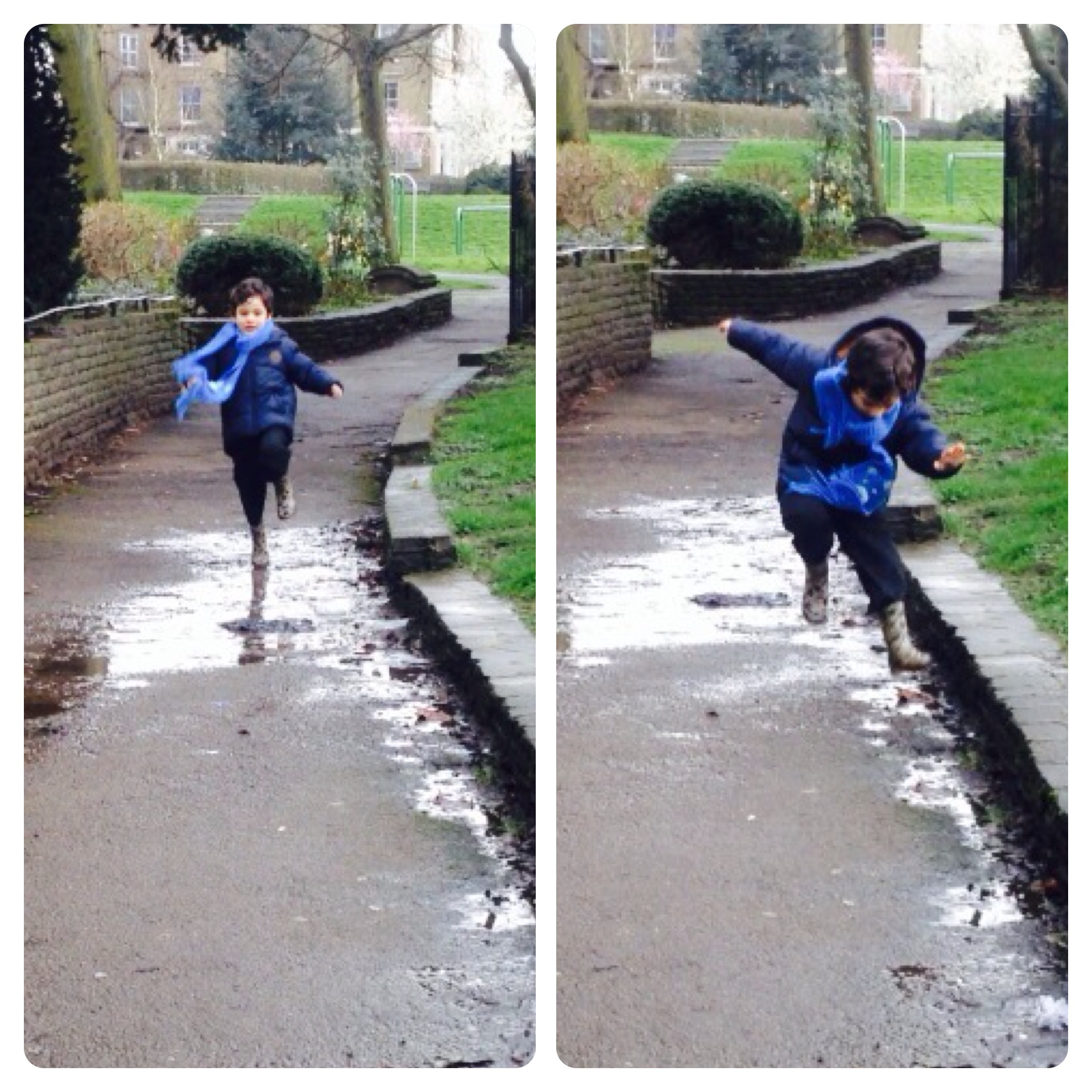 Running and Jumping in Puddles