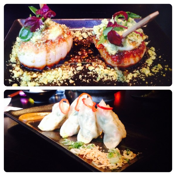 Grilled Scallops and Chilean Seabass and Crayfish Dumplings