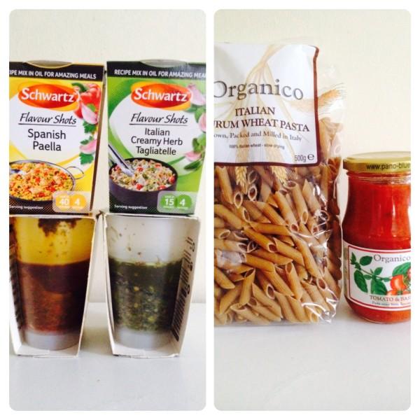Schwartz Flavour Shots, Organico Pasta and Tomato Sauce