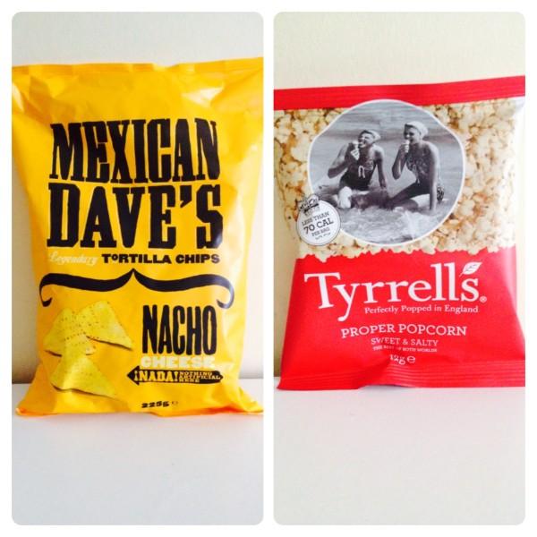 Mexican Dave Nachos and Tyrrells Popcorn