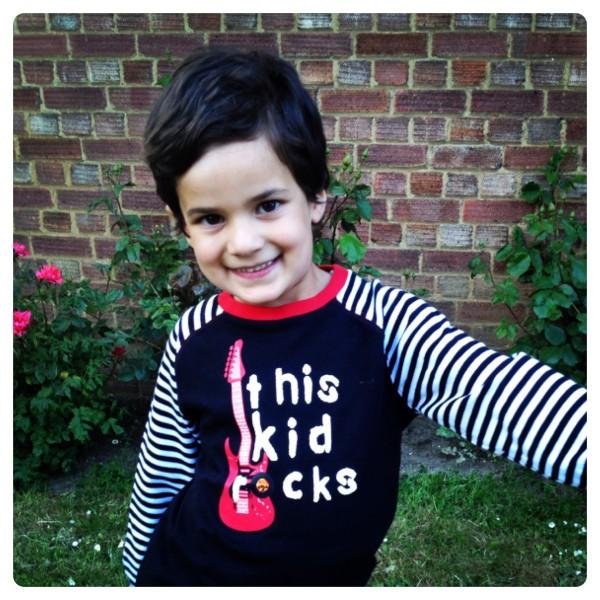 Little Man Wearing Rockabye-Baby
