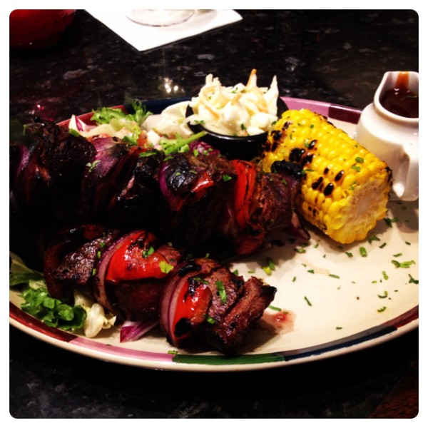 Blackened Steak Skewers with Salad