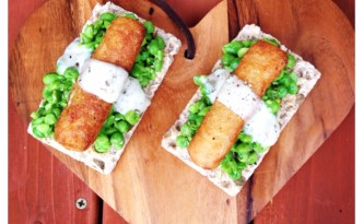 Crunchy Fish Finger Ryvitas with Crushed Peas and Tartare Sauce