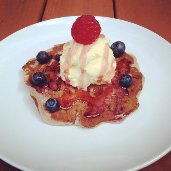Ice Cream on Mixed Berries Pancake