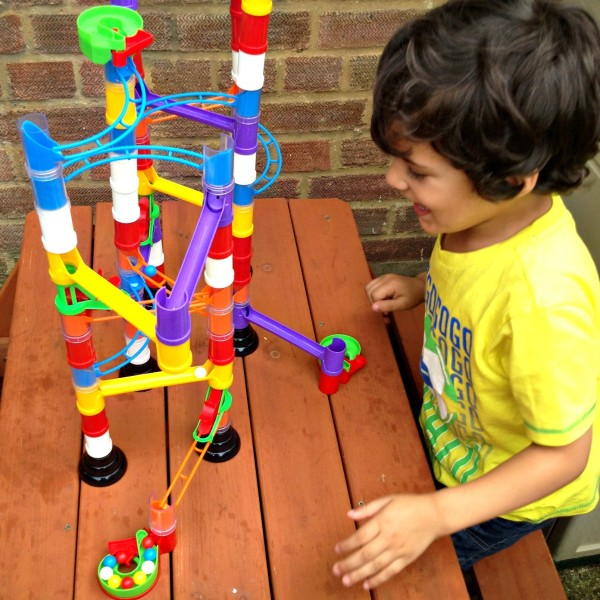 Playing with Quercetti Super Marble Run