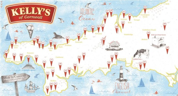 Kelly Ice Cream Cornwall Map