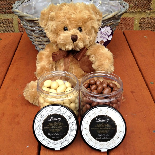 Serenata Flowers: Teddy Bear, Yogurt Covered and Chocolate Coated Peanuts and Raisins