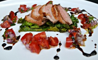 Warm Duck Salad with Curly Kale and Orange & Balsamic Reduction