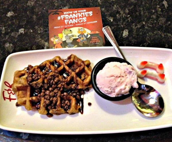 Chocolate Honeycomb Waffle with FrankiesFangs