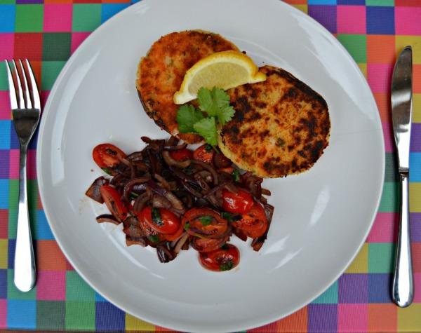 Salmon Fishcake with Warm Tomato Balsamic Salad Recipe