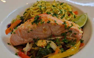 Asian Saucy Salmon on Oodles of Noodles